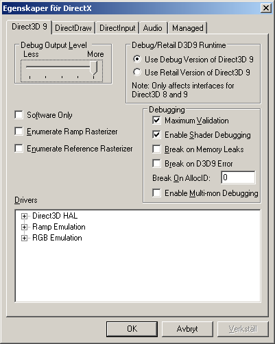 DirectX Control Panel Proprties